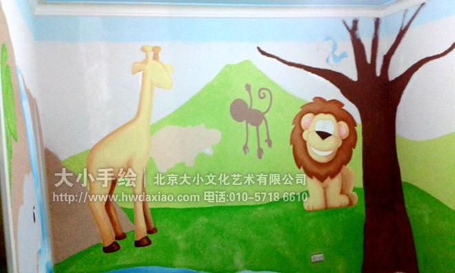 小朋友们都喜欢的可爱动物手绘墙壁画 墙体彩绘