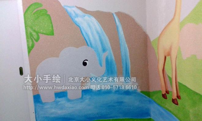 爱动物手绘墙壁画