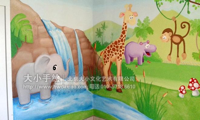 幼儿园手绘墙 大象 狮子