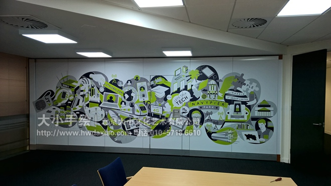 灰色 绿色 科技 电脑 手机 文化墙彩绘 手绘墙素材 北京墙绘公司 手绘