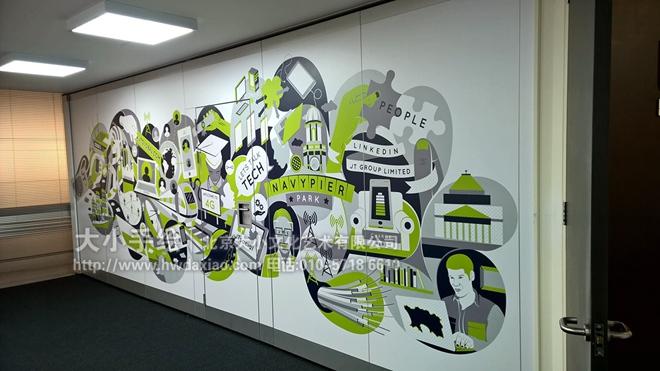 创意墙绘 办公手绘墙 餐厅手绘墙 灰色 绿色 科技 电脑 手机 文化墙彩