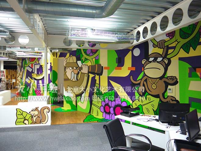 创意墙绘 办公手绘墙 餐厅手绘墙