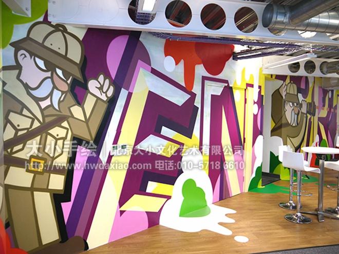 创意墙绘 办公手绘墙 餐厅手绘墙 涂鸦 咖啡厅彩绘 停车场壁画 丛林