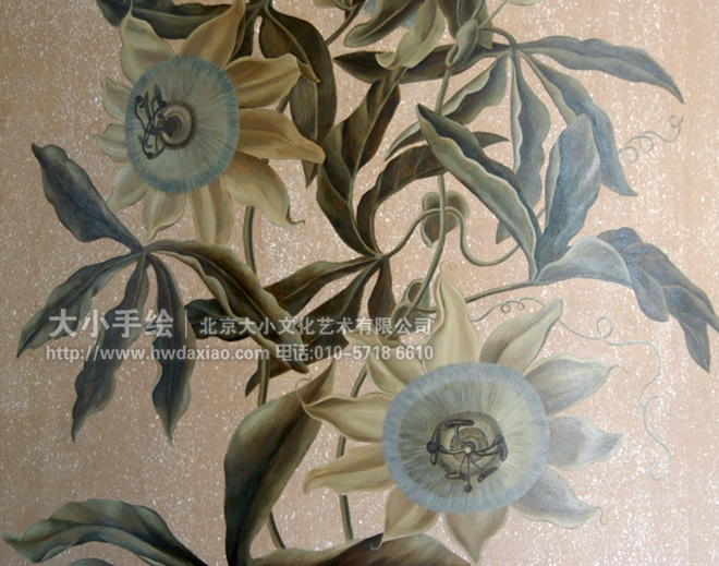油画 花卉 藤蔓 楼梯间彩绘 优雅 精致 植物 西潘莲 图谱 客厅墙绘