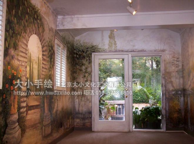 静雅田园风格油画办公空间手绘墙壁画 墙体彩绘