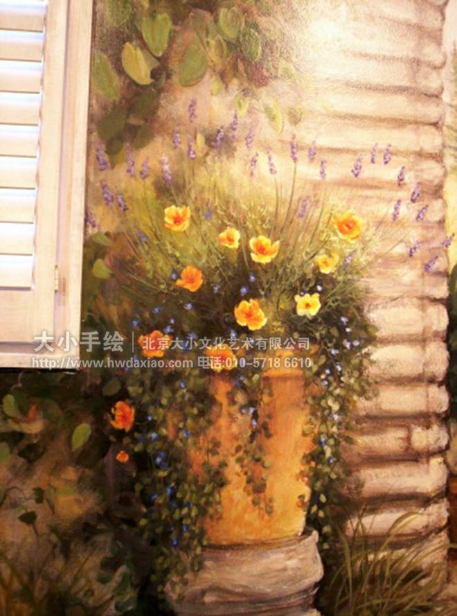 静雅田园风格油画办公空间手绘墙壁画