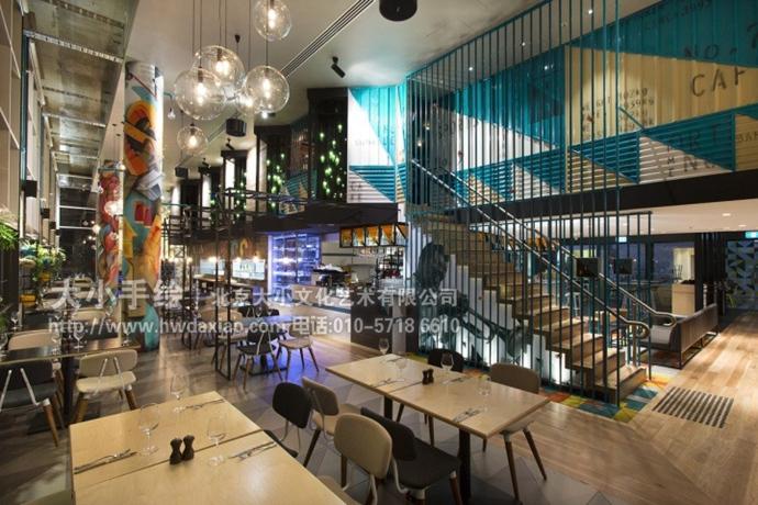 創意墻繪 辦公手繪墻 餐廳手繪墻 涂鴉 咖啡廳彩繪 工業風格 柱子彩繪
