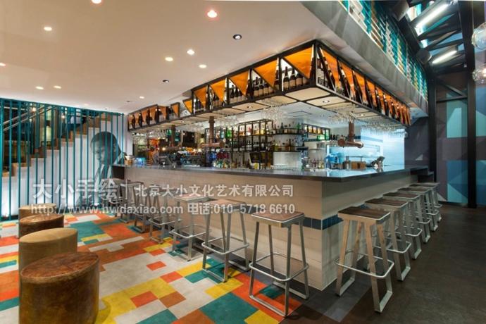 工业风格主题独特魅力餐厅手绘墙壁画 墙体彩绘