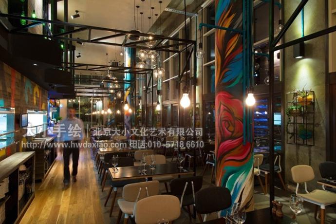 创意墙绘 办公手绘墙 餐厅手绘墙 涂鸦 咖啡厅彩绘 工业风格 柱子彩绘