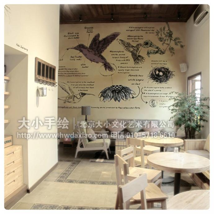创意墙绘 办公手绘墙 餐厅手绘墙 涂鸦 咖啡厅彩绘 素描 图谱 蜂鸟
