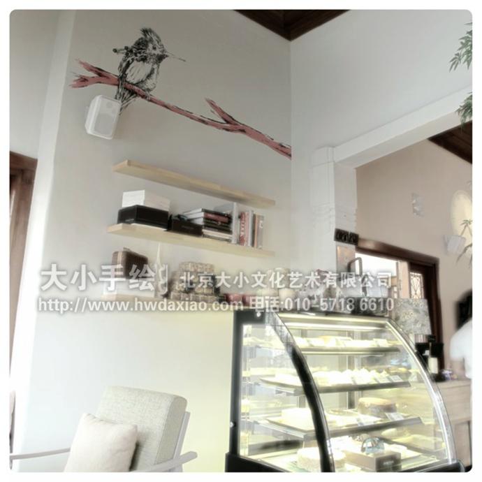 创意墙绘 办公手绘墙 餐厅手绘墙 涂鸦 咖啡厅彩绘 素描 图谱 蜂鸟 文