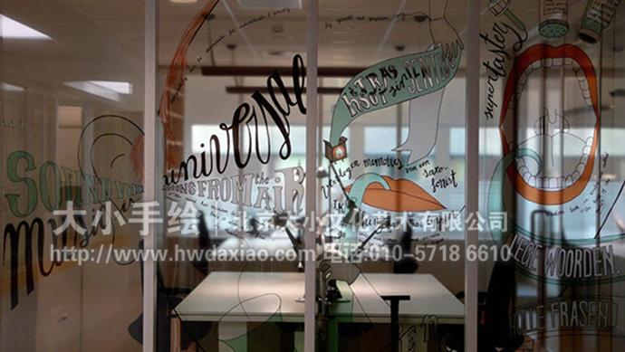 手绘墙壁画 玻璃贴画