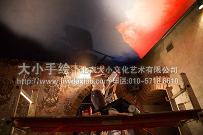 以酒之名——酒吧天顶手绘墙壁画 墙体彩绘
