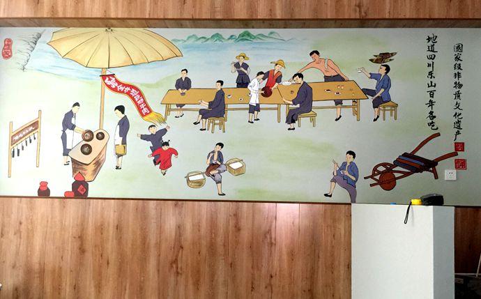 市场 书法 茶馆 文化墙彩绘 手绘墙素材 北京墙绘公司 手绘墙 墙体