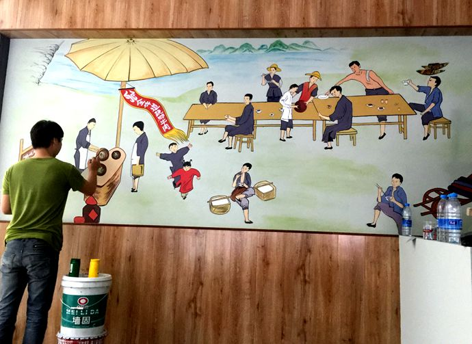 主题餐厅手绘墙壁画