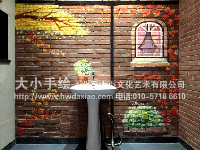 餐厅手绘墙,卫生间彩绘