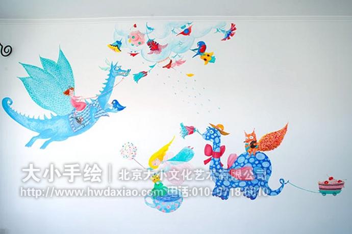 手绘墙壁画,描绘了仙女