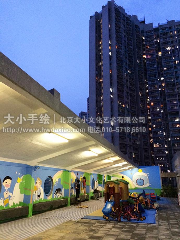 卡通墙绘,儿童房手绘墙,幼儿园墙绘,早教彩绘,长颈鹿,彩虹,墙体彩绘