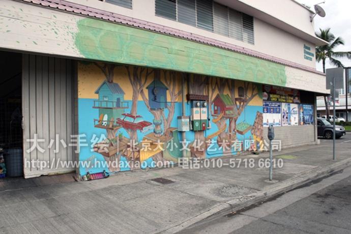 主题街道手绘墙壁画