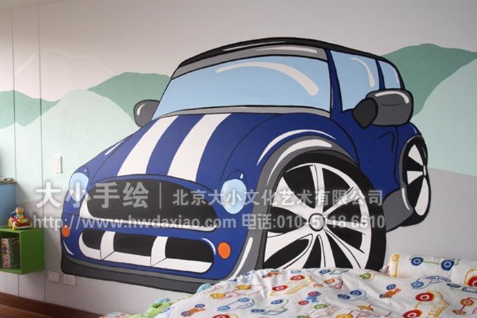爱车的男孩 儿童房汽车主题手绘墙壁画 墙体彩绘