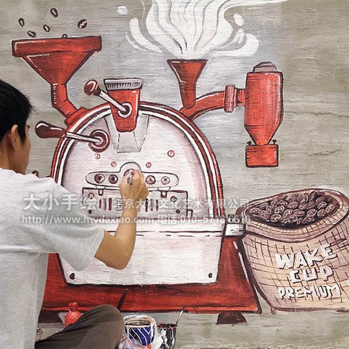 街角咖啡厅,花式字体打造手绘墙壁画 墙体彩绘