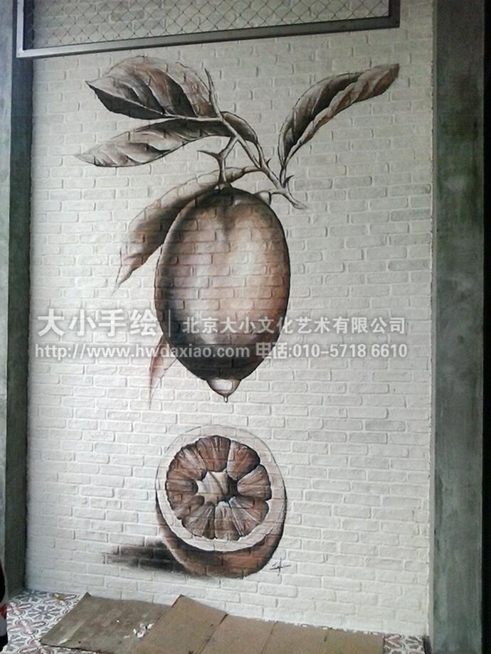柠檬素描餐厅手绘墙壁画打造清爽氛围