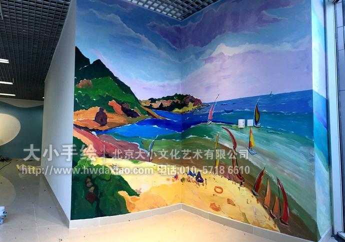 风景油画商铺大厅手绘墙壁画
