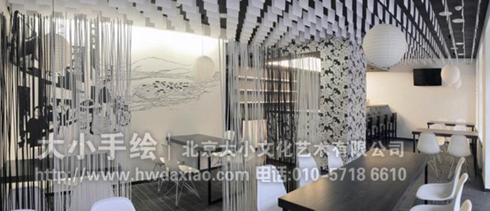 黑白单色的怀旧风墙体彩绘