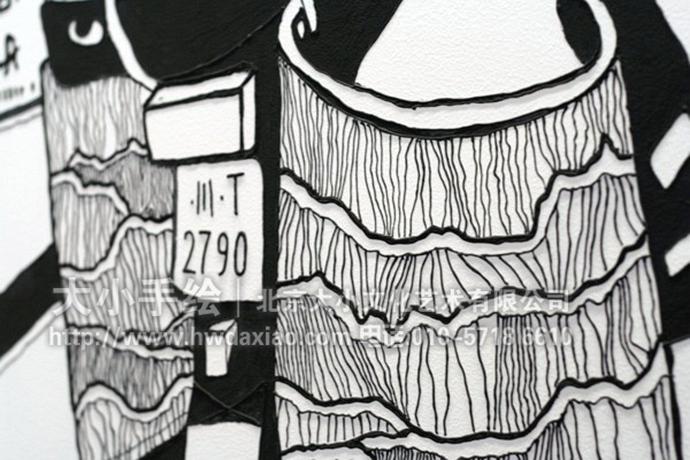 餐厅手绘墙,黑白素描,民国人文,民俗风情,办公室手绘墙,墙体彩绘,北京