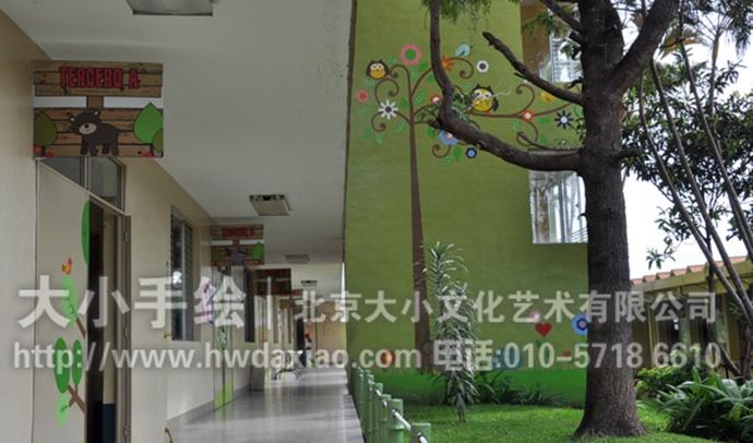 幼儿园手绘墙,走廊壁画,森林,动物,早教机构墙绘,校园文化墙,卡通壁画