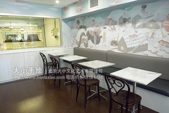 餐厅手绘墙,办公室手绘墙,奇思妙想,神奇世界,大海,帆船,雪国,墙体