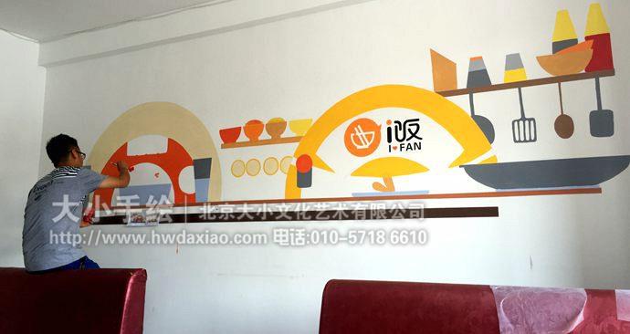 符号彩绘,餐厅,厨房手绘,调料,炒锅,吃饭,煎炒烹炸,餐厅手绘墙,创意