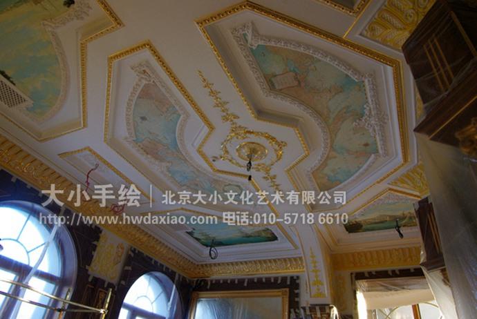 欧式天顶壁画,走廊墙绘