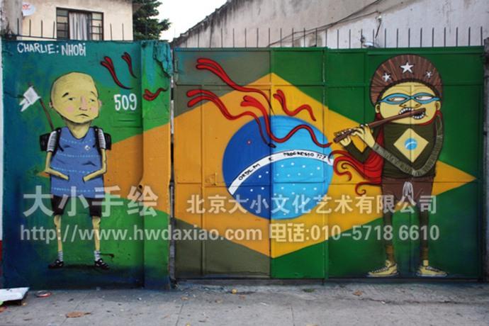 巴西奥运街头涂鸦艺术装饰手绘墙壁画