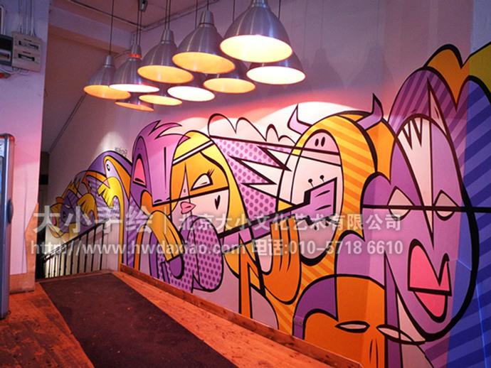 餐厅手绘墙,办公室手绘墙,店铺手绘墙,走廊壁画,柱子彩绘,墙体彩绘