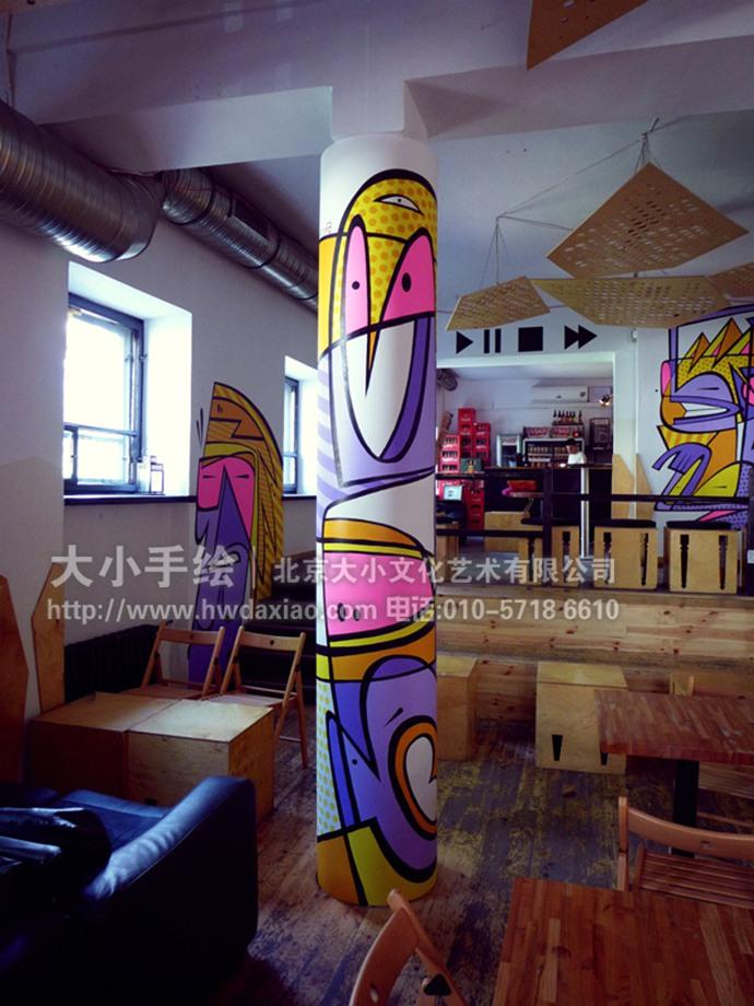 办公室手绘墙,店铺手绘墙,走廊壁画,柱子彩绘,墙体彩绘,北京墙绘公司