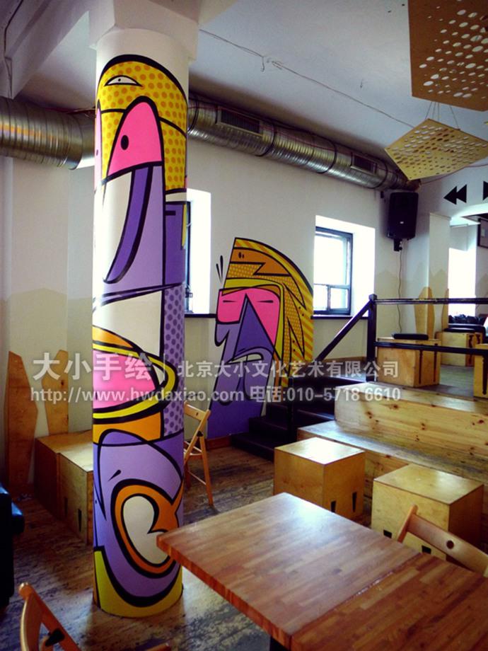 乐队壁画,餐厅手绘墙,办公室手绘墙,店铺手绘墙,走廊壁画,柱子彩绘