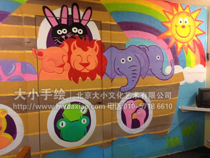 卡通动物,儿童房手绘墙