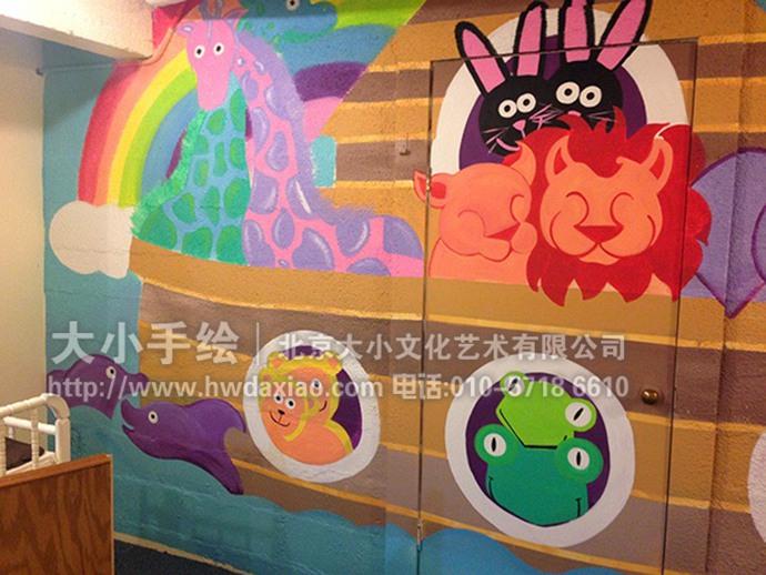 大象,长颈鹿,狮子,彩虹,太阳,卡通动物,儿童房手绘墙,早教中心彩绘