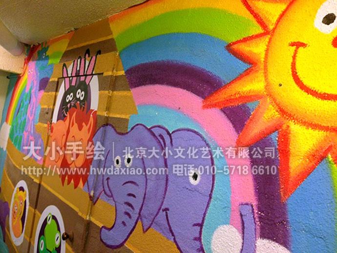 诺亚方舟:卡通动物儿童房手绘墙壁