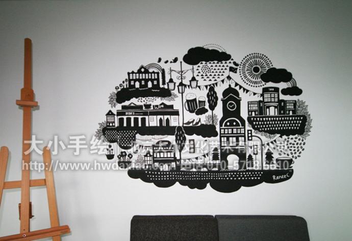 城市icon彩绘,黑白手绘墙,建筑墙绘,餐厅手绘墙,办公室手绘墙,家居