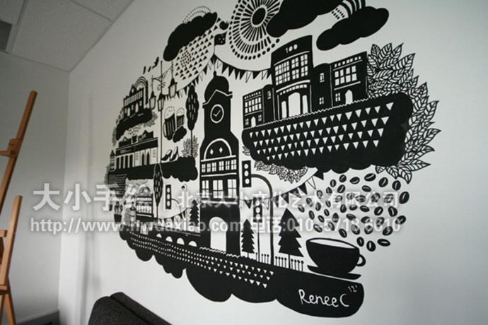 城市icon彩绘,黑白手绘墙