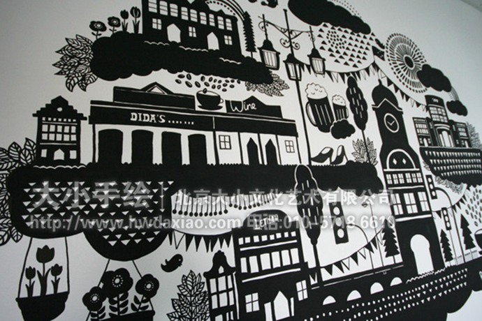 on办公室手绘墙壁画
