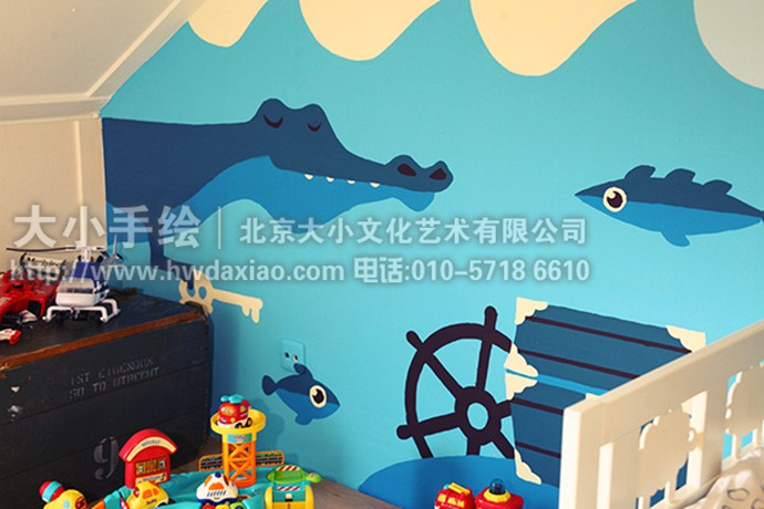 儿童房手绘墙,阁楼壁画