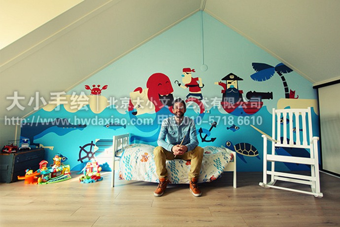 海盗,探险,大海,怪兽,儿童房手绘墙,阁楼壁画,早教机构彩绘,幼儿园