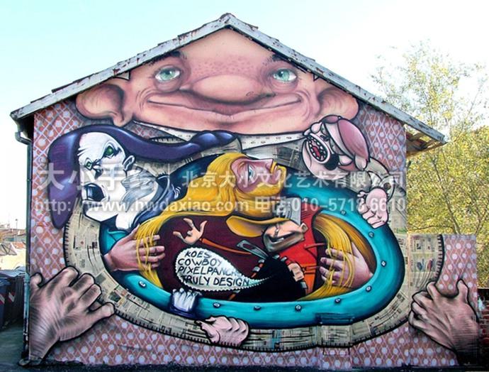 室外疯狂涂鸦手绘墙壁画