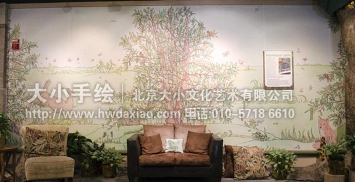 绘本世界之童话森林会议室手绘墙壁画