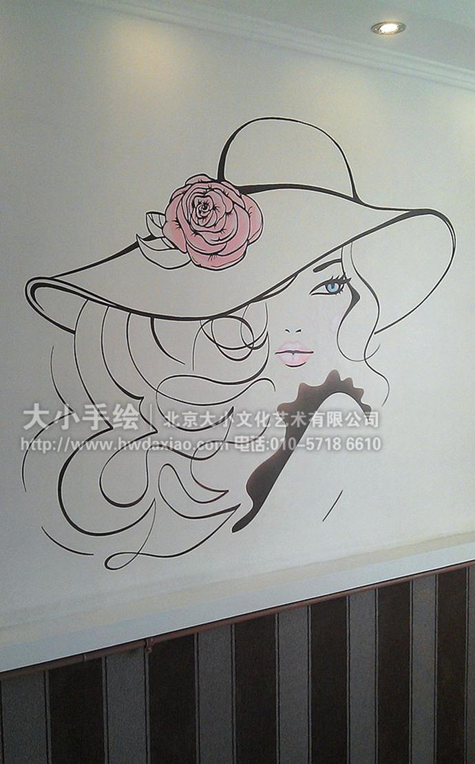 线条人物,家居彩绘,餐厅手绘墙,客厅壁画,办公室手绘墙,北京墙绘公司