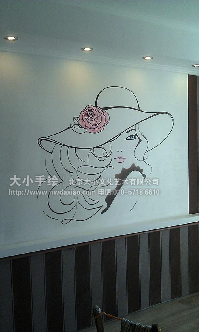 窈窕淑女:简约风格室内装饰手绘墙壁画图片
