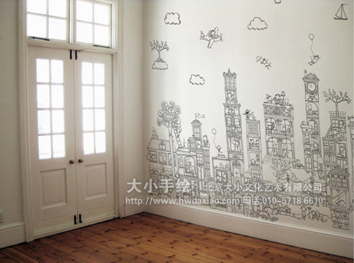 卡通微缩城市景观手绘墙壁画
